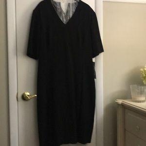 Black short sleeve Tahari dress